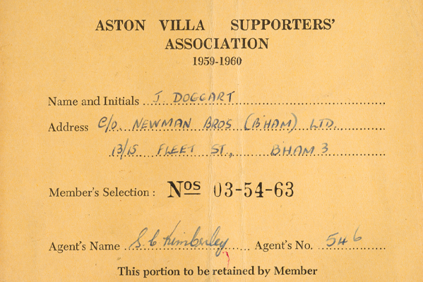 Aston Villa Supporters' Association Card