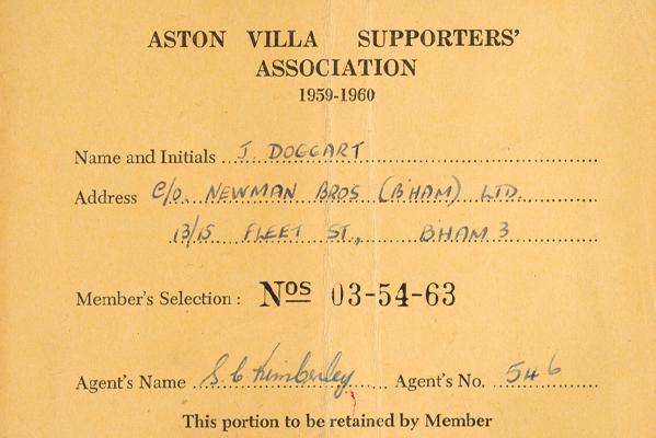 Aston Villa Supporters' Association Card