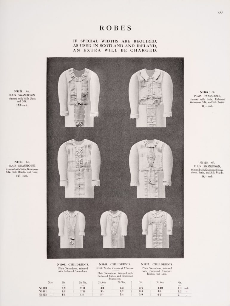Page from a catalogue showing 7 shrouds