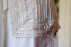 Detail of a frills and pleats on a white shroud