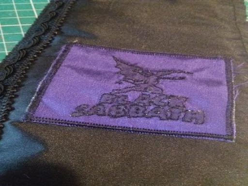 finished black sabbath patch in purple