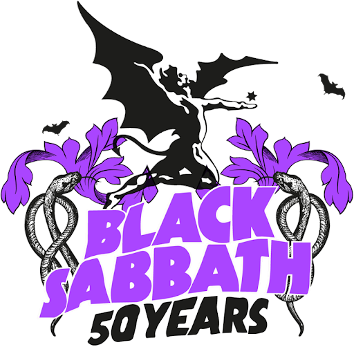 50 yrs of Black Sabbath patter in purple and black